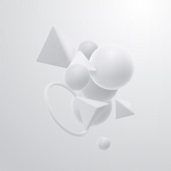 Abstrait élégant avec nuage de cluster de formes géométriques 3d blanches
