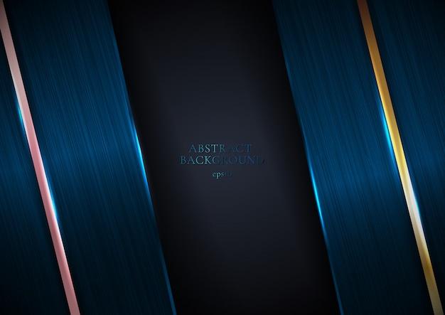 Abstrait élégant texture métallique bleu avec ligne rayure dorée
