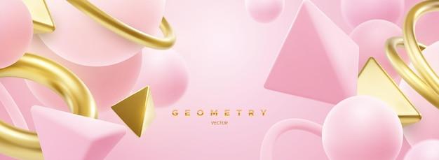 Abstrait élégant avec toile de fond de formes géométriques roses et dorées