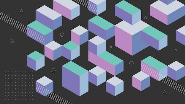 Abstrait avec des éléments isométriques d'une boîte de cube. avec des couleurs rétro ou vintage.