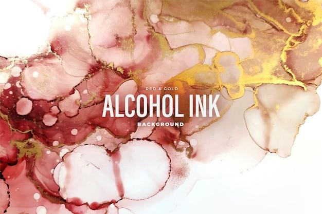 Abstrait encre d'alcool rouge et or