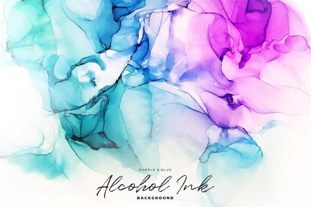 Abstrait encre d'alcool vert, bleu et violet