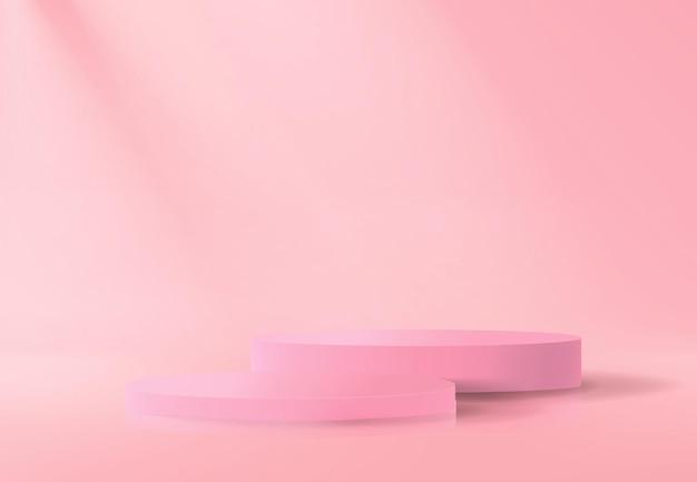 Abstrait avec ensemble de podiums vides en rose dans un style minimaliste