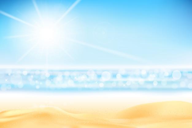 Abstrait d'été bokeh avec plage de sable effet lumière
