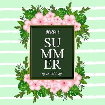 Abstrait étiquette d'été avec des fleurs et feuillages tropicaux
