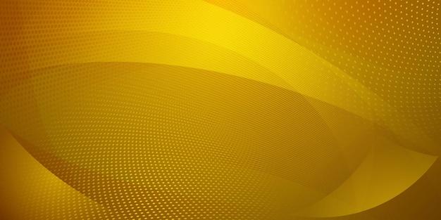 Abstrait fait de points de demi-teintes et de lignes courbes en couleurs jaunes