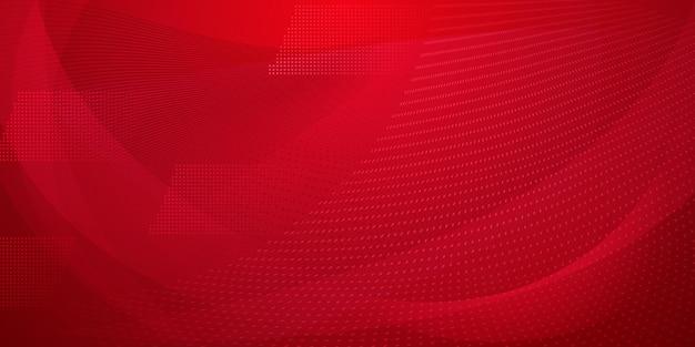 Abstrait fait de points de demi-teintes et de lignes courbes de couleurs rouges