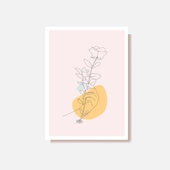 Abstrait femme mains fleur feuille dessin au trait
