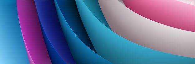 Abstrait de feuilles de papier volumétriques incurvées de différentes couleurs