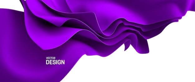 Abstrait avec des feuilles de tissu en streaming violet.