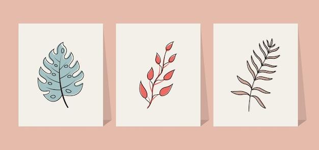 Abstrait feuilles tropicales éléments fleur fond d'affiche
