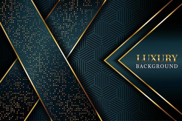 Abstrait flèche bleu foncé se chevauchent avec des points de paillettes et fond de technologie futuriste de luxe moderne ligne dorée