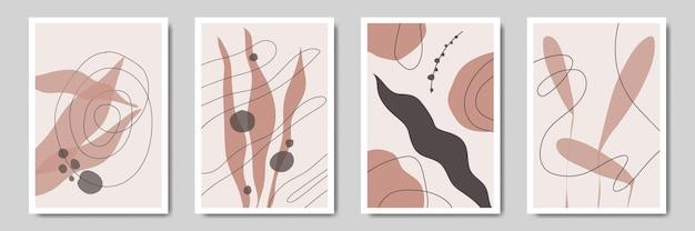 Abstrait floral contemporain feuilles modernes art en ligne portraits boho collection de modèles d'affiches