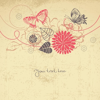 Abstrait floral avec des papillons