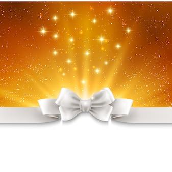 Abstrait fond clair d'or magique avec ruban blanc