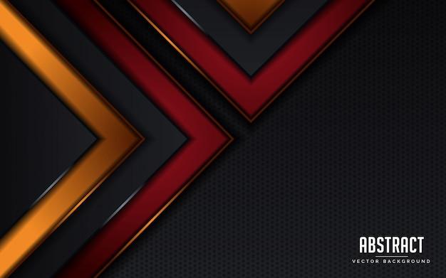 Abstrait fond géométrique noir et rouge et orange moderne
