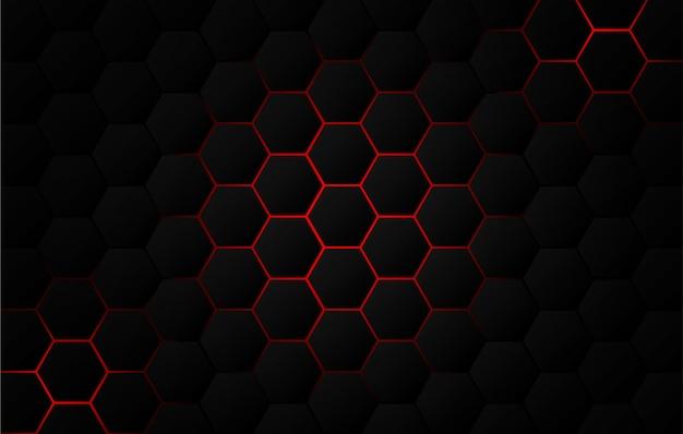 Abstrait. fond noir hexagonal, lumière rouge et ombre.