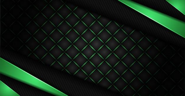 Abstrait fond sombre avec des lignes de formes vertes combinaison rougeoyante