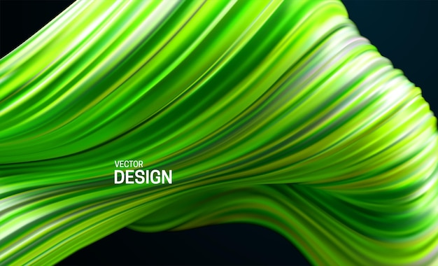 Abstrait avec forme ondulée rayée verte