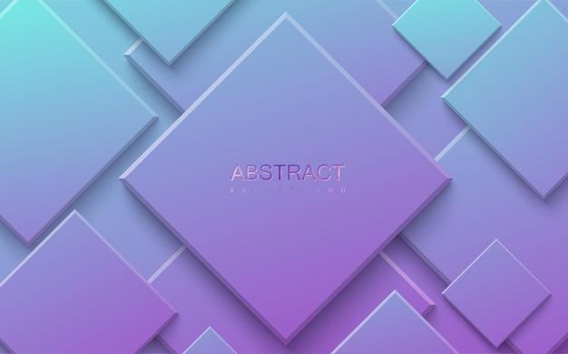 Abstrait avec des formes carrées dégradées bleues et violettes
