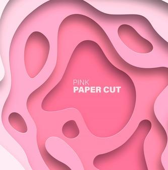 Abstrait avec des formes découpées en papier. couleur tendance rose