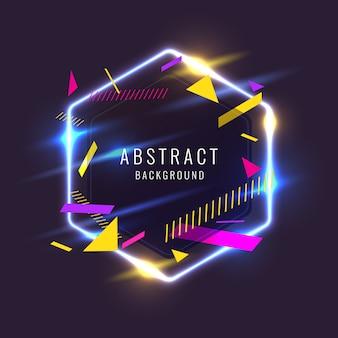 Abstrait avec des formes géométriques et une lueur au néon