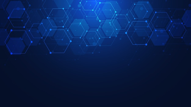 Abstrait avec des formes géométriques et motif hexagonal. médecine, technologie ou conception scientifique.