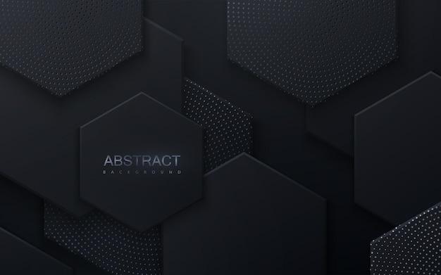 Abstrait avec des formes hexagonales noires texturées avec des paillettes d'argent
