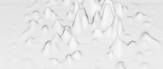 Abstrait avec des formes de lignes déformées sur blanc