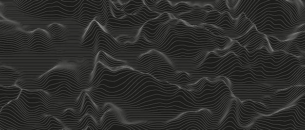 Abstrait avec des formes de lignes déformées sur fond noir