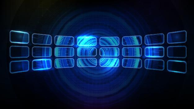 Abstrait futuriste d'affichage du panneau d'élément de cadre hud ui rougeoyant bleu
