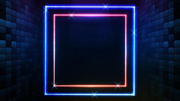 Abstrait futuriste de cadre carré néon bleu et éclairage