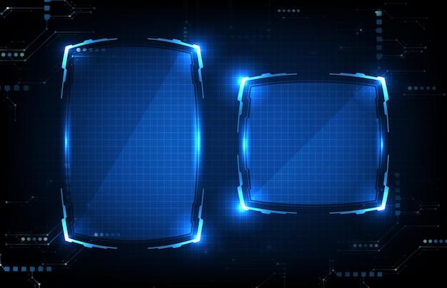 Abstrait futuriste de cadre de science-fiction technologie rougeoyante bleu hud ui