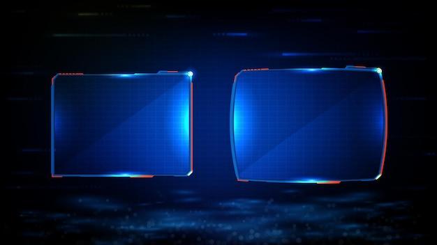 Abstrait futuriste de cadre de science-fiction technologie rougeoyante bleu
