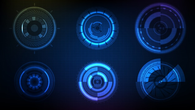 Abstrait futuriste cercle interface sci fi frame hud ui collection