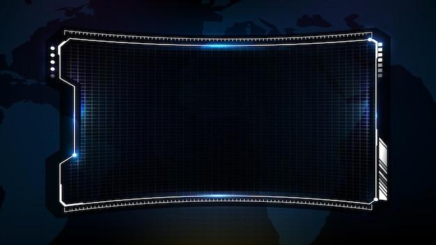 Abstrait futuriste du cadre de science-fiction de technologie bleue, sujet hud ui, troisième barre de boutons inférieure