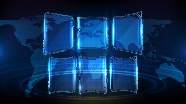 Abstrait futuriste de l'élément hud ui du cadre de science-fiction de technologie rougeoyante bleue