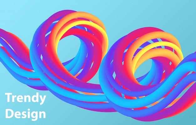 Abstrait futuriste. illustration 3d d'une forme fluide. modèle de page de destination abstraite.