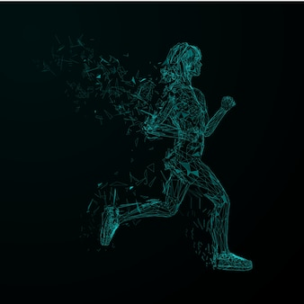 Abstrait futuriste. modèle de couverture. filles de jogging low blue blue avec des ailes de particules triangulaires.