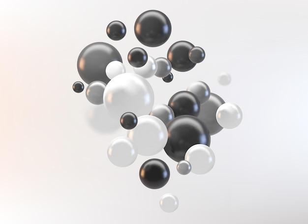 Abstrait futuriste avec des sphères 3d et des bulles brillantes