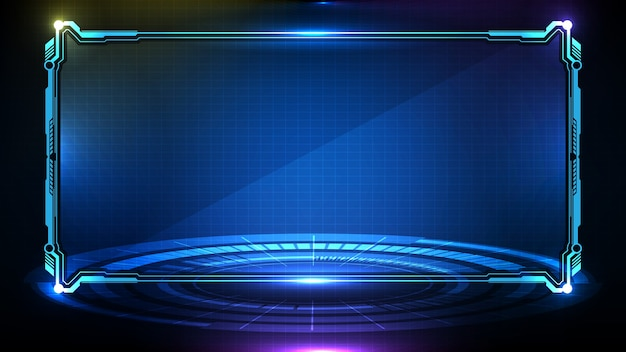 Abstrait futuriste de la technologie rougeoyante bleu cadre de science-fiction hud ui