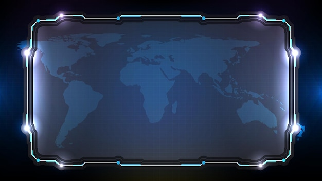 Abstrait futuriste de la technologie rougeoyante bleue sci fi frame hud ui