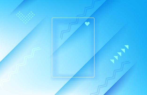 Abstrait géométrique bleu. modèle de page de destination avec cadre blanc