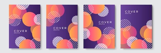 Abstrait géométrique coloré violet jaune. ensemble de forme d'onde incurvée organique abstraite sur fond de couleurs sombres pour brochure, flyer, affiche, dépliant, rapport annuel, couverture de livre.