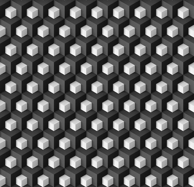 Abstrait géométrique avec des cubes blancs sur fond noir