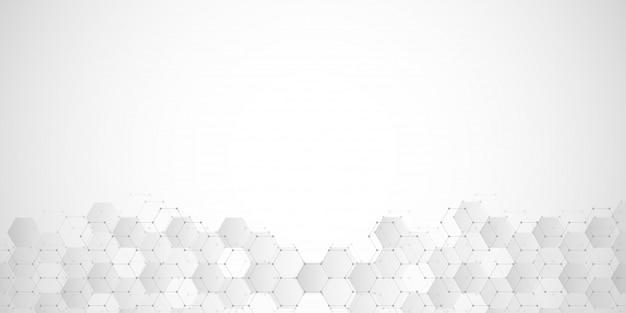 Abstrait géométrique avec des éléments hexagones.