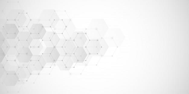 Abstrait géométrique avec des éléments d'hexagones