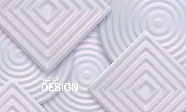 Abstrait géométrique avec des formes carrées et cercles nacrés blancs