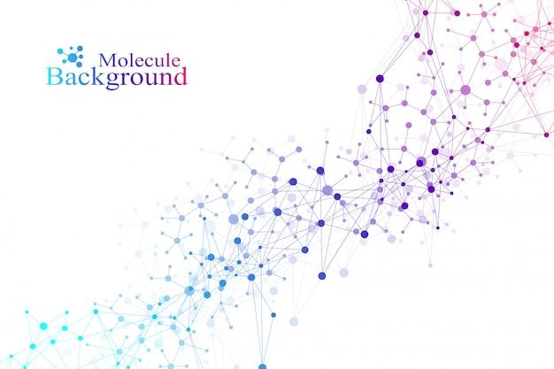 Abstrait géométrique avec ligne connectée et points. fond de réseau et de connexion pour votre présentation. bannière de science avec fond géométrique de molécules.