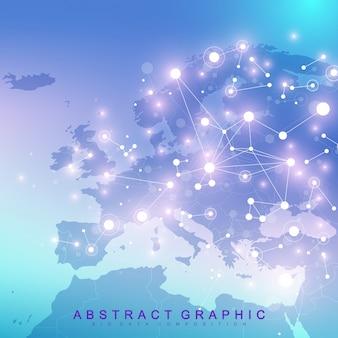 Abstrait géométrique avec ligne connectée et points. fond de réseau et de connexion pour votre présentation. contexte polygonal graphique. illustration scientifique